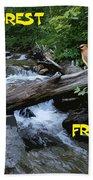 Forest Friends Sharing A Log Over A Creek On Mt Spokane Bath Towel