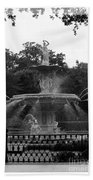 Forsyth Park Fountain - Black And White Bath Towel