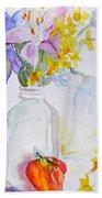 Forsythia And Ghost Daisies Bath Towel