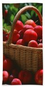 Fresh Red Plums In The Basket Bath Towel