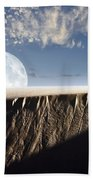 Full Moon Rising Above A Sand Dune Hand Towel