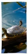 Funny Turtle Catching Some Rays Bath Towel