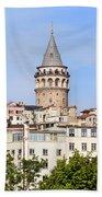 Galata Tower In Istanbul Bath Towel