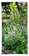 Garden Flowers With Stream Bath Towel