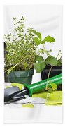 Gardening Tools And Plants Bath Towel
