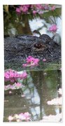 Gator Among Crape Myrtle Bath Towel