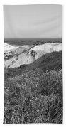 Gay Head Lighthouse With Aquinna Beach Cliffs - Black And White Bath Towel