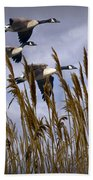 Geese Coming In For A Landing Bath Towel