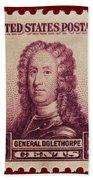 General James Oglethorpe Postage Stamp Bath Towel