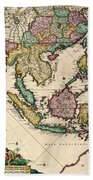 General Map Extending From India And Ceylon To Northwestern Australia By Way Of Southern Japan Bath Towel