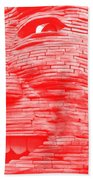 Gentle Giant In Negative Red Bath Towel