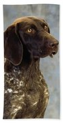 German Pointer Portrait Of A Dog Bath Towel