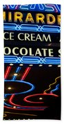 Ghirardelli Chocolate Signs At Night Bath Towel