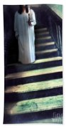 Girl In Nightgown On Steps Bath Towel