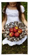 Girl With Apples Hand Towel