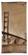 Golden Gate Bridge Sepia Bath Towel