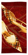 Golden Lattice Slingbacks On Royal Red Carpet Bath Towel