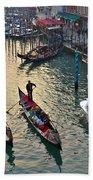 Gondolieri At Grand Canal. Venice. Italy Bath Towel