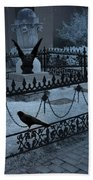 Gothic Surreal Night Gargoyle And Ravens - Moonlit Cemetery With Gargoyles Ravens Bath Towel