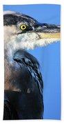 Great Blue Heron Portrait Blue Bath Towel