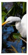 Great Egret Fishing Bath Towel