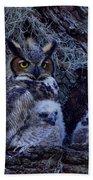 Great Horned Owl Twins Bath Towel