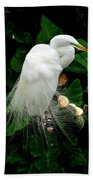Great White Egret With Breeding Plumage Bath Towel