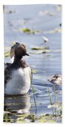 Grebe With Babies Bath Towel