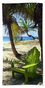 Green Chair On The Beach Hand Towel