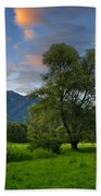 Green Field With Trees Bath Towel