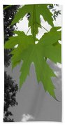 Green Maple Leaves Bath Towel