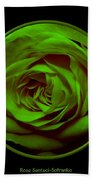Green Rose On Black Bath Towel