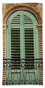 Green Shutters And Balcony In Verona Bath Towel