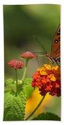 Gulf Fritillary Butterfly On Colorful Lantana  Bath Towel