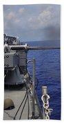 Gunner Fires A Mark 38 Machine Gun Bath Towel