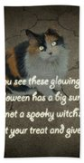 Halloween Calico Cat And Poem Greeting Card Bath Towel