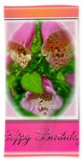 Happy Birthday Card - Foxgloves Bath Towel