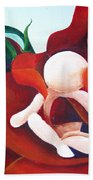 Healing Painting Baby Sitting In A Rose Detail Bath Towel