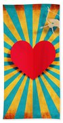 Heart And Cupid On Paper Texture Bath Towel