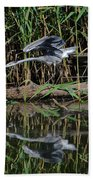 Heron Reflected In The Water Bath Towel