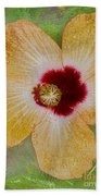 Hibiscus Gold And Red Bath Towel