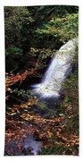 High Angle View Of A Waterfall, Glenoe Bath Towel