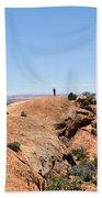 Hiker At Edge Of Upheaval Dome - Canyonlands Bath Towel