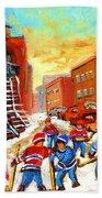 Hockey Art Kids Playing Street Hockey Montreal City Scene Hand Towel