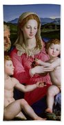 Holy Family With St Anne And The Infant St John The Baptist Bath Towel