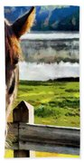 Horse At Lake Leroy Bath Towel