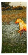 Horse Frolicking Bath Towel