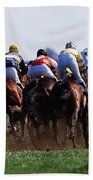 Horse Racing Rear View Of Horses Racing Bath Towel