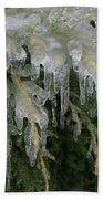 Ice-coated Arborvitae Bath Towel