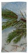 Ice Crystals And Pine Needles Bath Towel